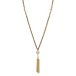 Mood - Bronze facet bead and crystal long tassel necklace