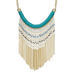 Mood - Green multi bead tassel drop necklace