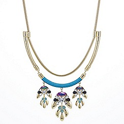 Mood - Gold statement necklace with stone cluster drop detail