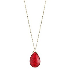 Mood - Red stone teardrop drop necklace