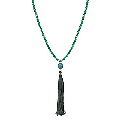 Mood - Green tassel beaded long necklace
