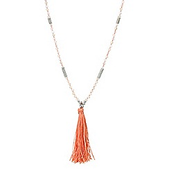 Mood - Coral tassel long beaded necklace
