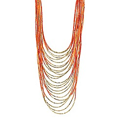 Mood - Multirow orange beaded collar long necklace