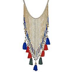 Mood - Fringed tassel collar statement necklace