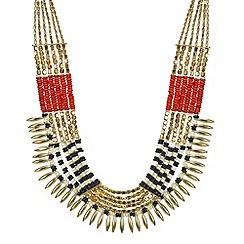 Mood - Gold beaded row statement necklace