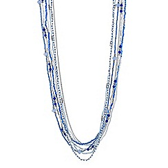 Mood - Blue beaded multi row long necklace