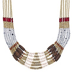 Mood - Multi row tonal beaded bib necklace