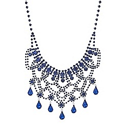 Mood - Blue diamante teardrop bib statement necklace