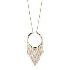 Mood - Gold fringed hoop pendant necklace