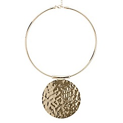 Mood - Gold hammered disc necklace