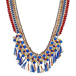 Mood - Multicolour bead and crystal tassel statement necklace