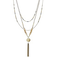 Mood - Semi precious multi row tassel pendant necklace