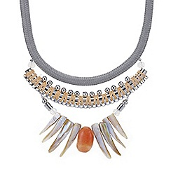 Mood - Rope twist shell fan statement necklace