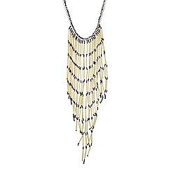 Mood - Gold tube fringed long necklace