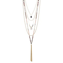 Mood - Multi row beaded tassel long necklace
