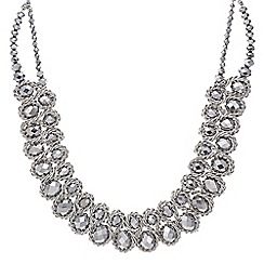 Mood - Metallic silver plaited bead necklace