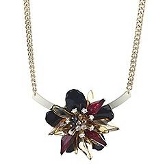 Mood - Jet 3d flower crystal torque necklace