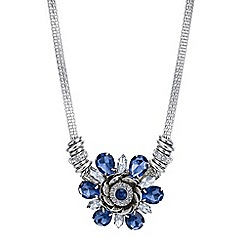 Mood - Blue crystal flower necklace