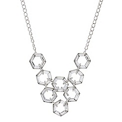 Mood - Silver crystal hexagon necklace