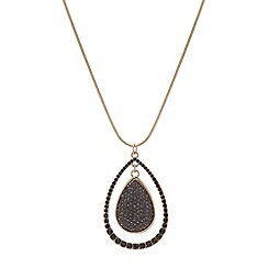 Mood - Jet crystal double drop necklace