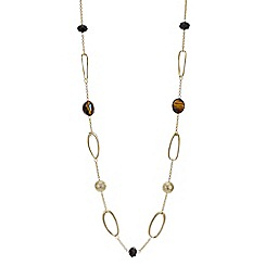 Mood - Gold open link beaded long necklace