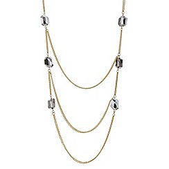 Mood - Grey bead gold section necklace