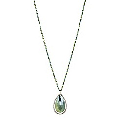 Mood - Metallic green pave teardrop long necklace