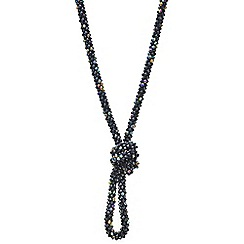 Mood - Jet cluster bead knotted long necklace
