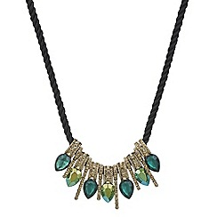 Mood - Metallic green crystal teardrop cluster necklace