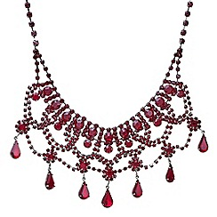 Mood - Red crystal diamante droplet choker necklace