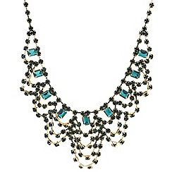 Mood - Green crystal diamante loop bib necklace
