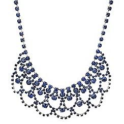 Mood - Blue crystal diamante loop statement necklace