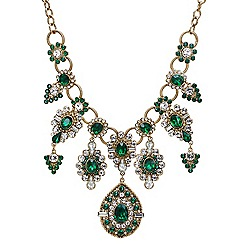 Mood - Green crystal ornate collar necklace