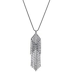 Mood - Silver diamante droplet long necklace