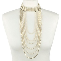 Mood - Multi drop pearl choker statement necklace