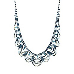 Mood - Teal crystal diamante bib necklace