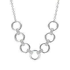 Mood - Silver pave circle link choker necklace