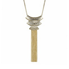 Mood - Gold textured long chain fringe necklace