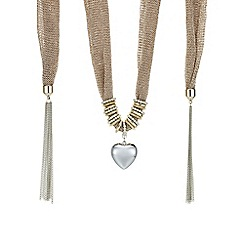 Mood - Rose gold heart charm scarf necklace