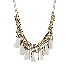 Mood - Gold bead and tassel collar necklace