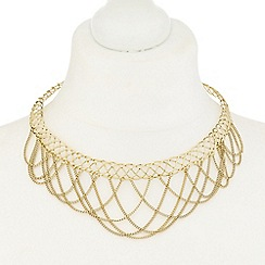 Mood - Gold metal looped chain choker necklace