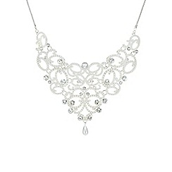 Mood - Silver pearl and crystal ornate necklace