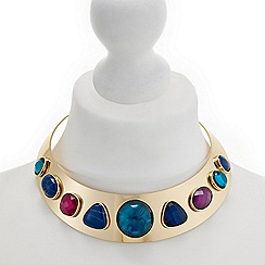 Mood - Gold crystal gem collar necklace