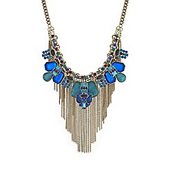 Mood - Tonal green crystal tassel necklace
