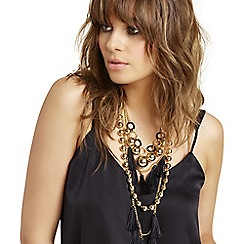 Mood - Black tassel and sphere necklace