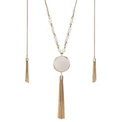 Mood - Pink stone tassel drop necklace