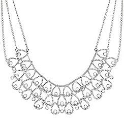 Mood - Silver crystal peardrop collar necklace