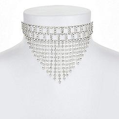 Mood - Silver diamante fringe choker