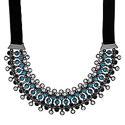 Mood - Blue crystal row collar necklace