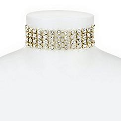 Mood - Gold crystal row choker necklace
